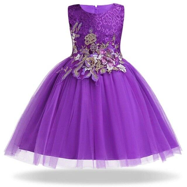 2018 Summer Stripe Birthday Party Dresses For Girls Flower Princess Dress Children Sleeveless Girls Dress clothing Robe fille цена