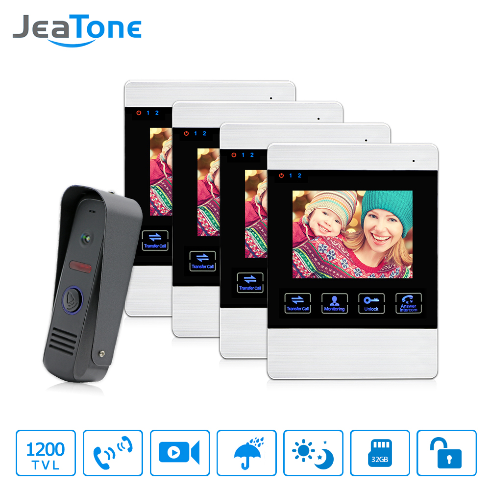 JeaTone 4 LCD Screen Touch Button Monitor Video Doorbell Intercom System Waterproof IR Night Camera  Two-way Intercom Kit 4V1 handheld game 3 inch touch screen lcd displays 4 way cross keypad polar system