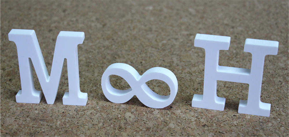 Free Standing Artificial Wood Wooden Letters 60cm White Alphabet For Home Wedding Photo Props Birthday Party Gifts Name Letters