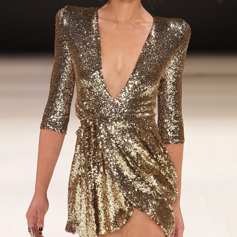 Vintage Gold Sequin Sexy Deep V Neck Women Evening Dress 2019 Spring Club Wear Party Night Lady Skinny reflective Dresses in Evening Dresses from Weddings Events