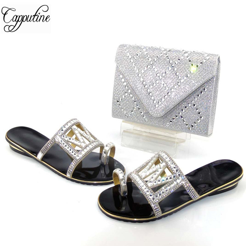 Capputine Nigerian Style Low Heels Slipper Shoes and Bag Set African Black Color Shoes And Bag Set For Party Size 37-43 itlian style rhinestone slipper shoes and matching bag set new africa high heels shoes and bag set for party size 38 43