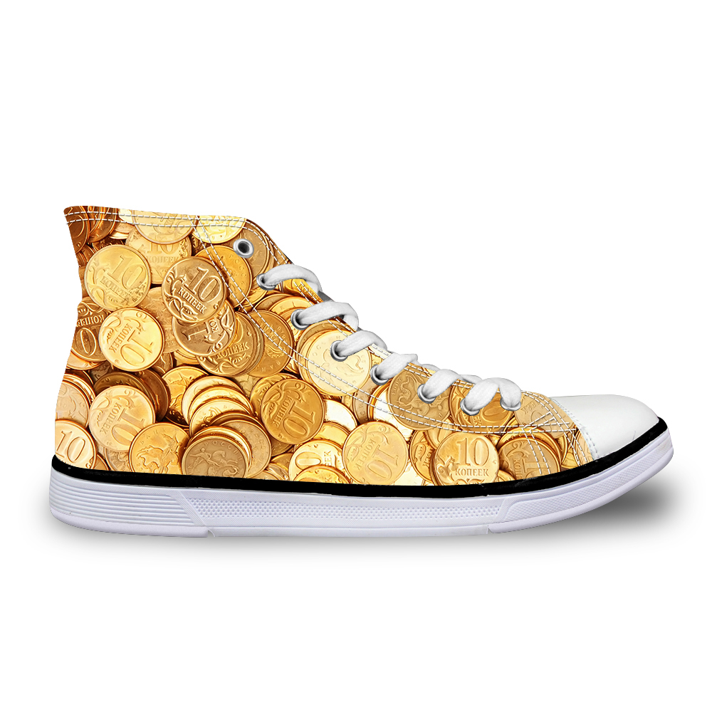 Customized Female sneakers Women gold coins cash print vintage flat shoes vulcanized lace up outdoor high top casual Girls