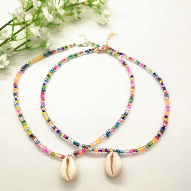 JCYMONG Bohemian Colorful Beads Charm Bracelets For Women Natural Shell Pendant Necklace 2019 Fashion Gold Silver Color Jewelry