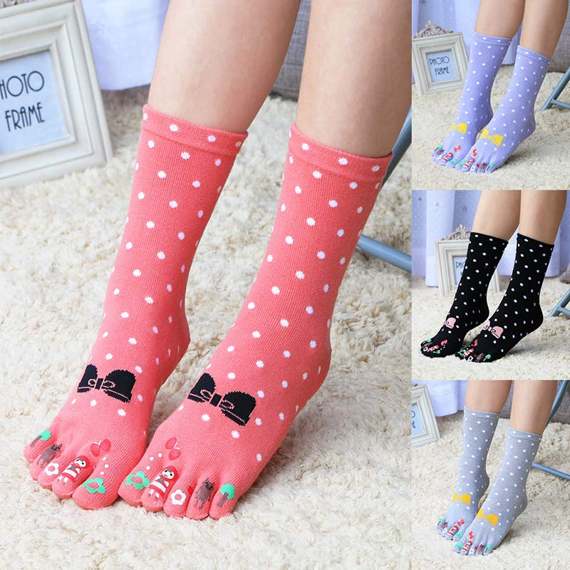 Brand New Arrival Women Girls Lovely Cute Five Pure Cotton Fingers Toe Ankle Bowknot Socks