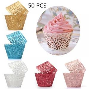 Image 2 - 50pcs Laser Cut Cupcake Wrappers Decor Birthday Cupcake Wrapper Wedding Party Decoration Baby Shower Handmade Cake Decoration