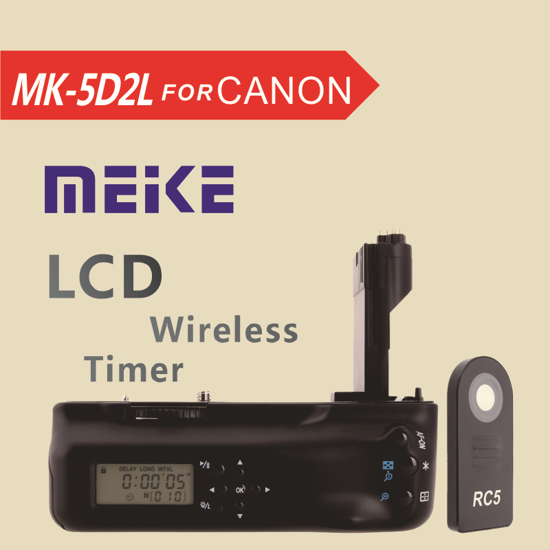 MEKE Meike MK 5D2L LCD Timer Battery Grip for Canon EOS 5D Mark II + RC5 Wireless Infrared Remote Control yixiang pro vertical battery grip for canon eos 7d2 7d mark ii 2 as bg e16