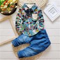 Обработка просвет Мальчиков комплект Одежды Костюм Комбинезон Джентльмен рубашку с длинными рукавами + брюки 2 шт. джинсы Дети