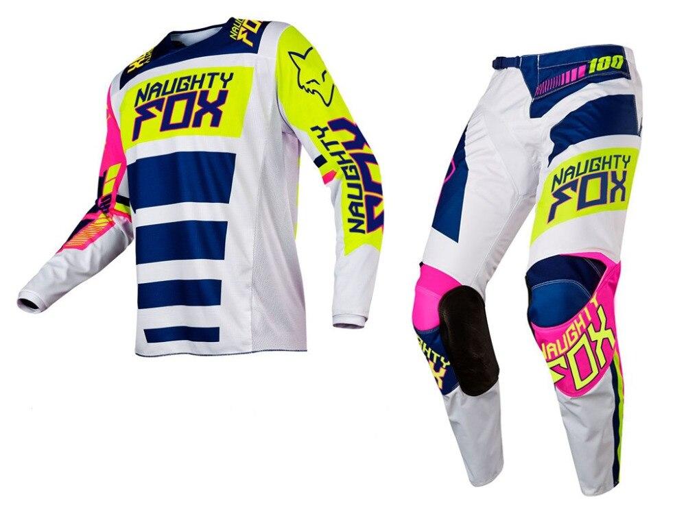 Corrida de Combinação MX 180 Falcon Nirv Branco FLO Amarelo Calças Jérsei Motocross Engrenagem off-road Racing Suit