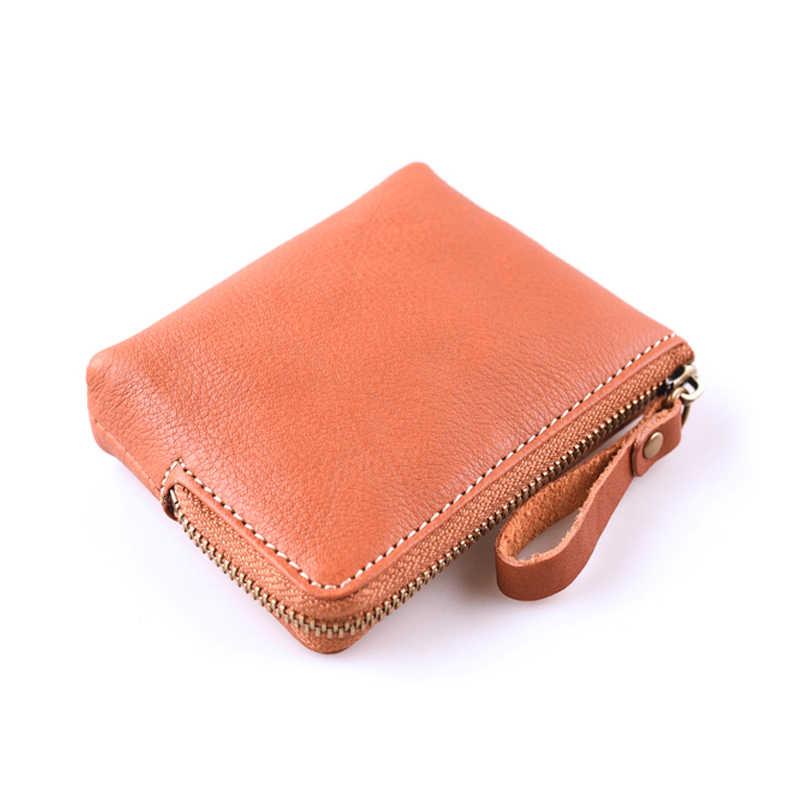 الأولى طبقة جلد طبيعي للجنسين الرجال صغيرة محفظة نسائية للعملات المعدنية الحقيبة المال جيب جلد البقر مرأة البسيطة عملات المال محفظة عملة حقيبة سستة