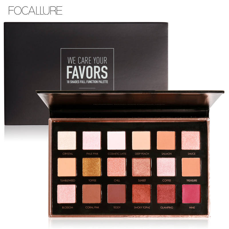 FOCALLURE 18 Colors Eyeshadow Palette Shimmer Matte Pigment Eye Shadow Cosmetics Mineral Matte Colors with Shimmer Glitter подводка absolute new york shimmer eyeliner 11 цвет nf011 glitter brown variant hex name 635145