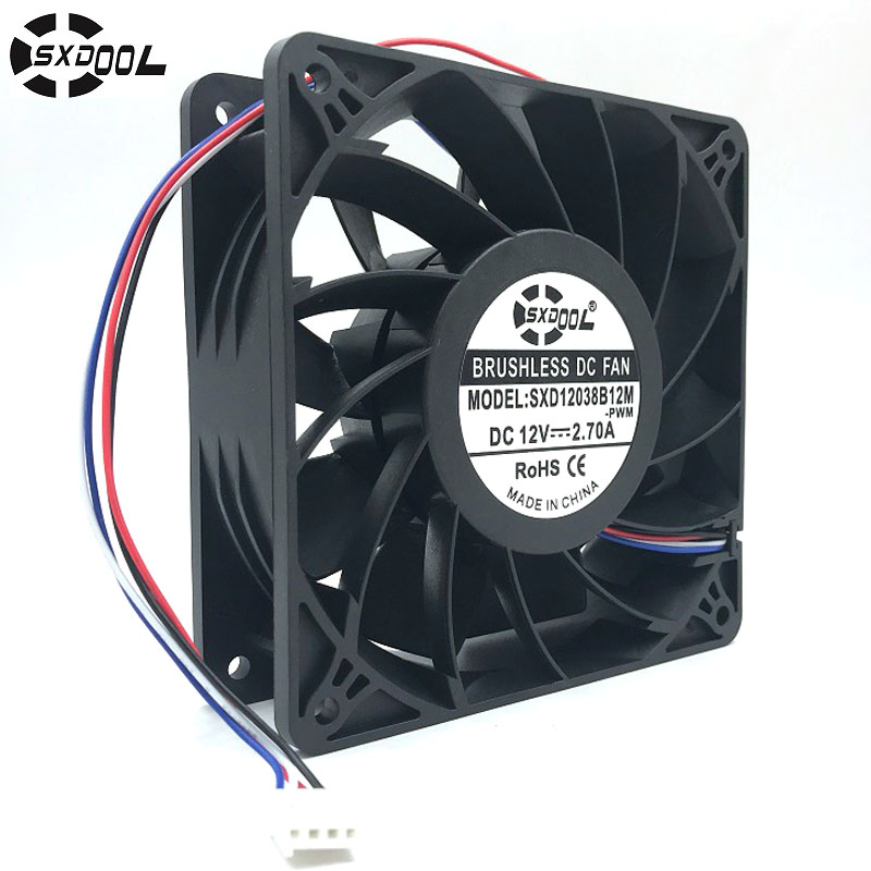 high quality SXDOOL SXD12038B12M For Antminer bitmain S7 S9 cooling fan 12038 DC12V 4500RPM 200CFM replace QFR1212GHE stock delta 12cm 12038 12v cooling fan pfb1212ehe pfb1212ghe pfb1212uhe qfr1212ehe qfr1212ghe