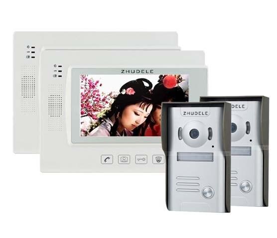 ZHUDELE Home Security Video Intercom 7Touch Key LCD Video Door Phone + 700TVL IR Camera , Support IP Camera 2Cameras+2Monitors