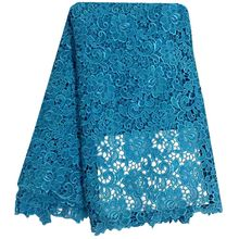 High Quality Guipure Lace African Cord Lace Embroidery Fabric Sky Blue African Water Soluble Lace Fabric For Sewing Women Dress