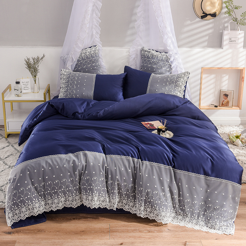 Blue Yellow Gray Pink White Silky Silk Girl Bedding sets Lace Duvet Cover Bed Sheet Bed Linen Pillowcases Queen King Size 4pcsBlue Yellow Gray Pink White Silky Silk Girl Bedding sets Lace Duvet Cover Bed Sheet Bed Linen Pillowcases Queen King Size 4pcs