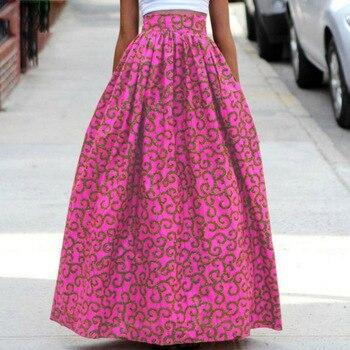 Mirsicas 2019 women African Dashiki elastic  High Waist Pleated floor length long skirt