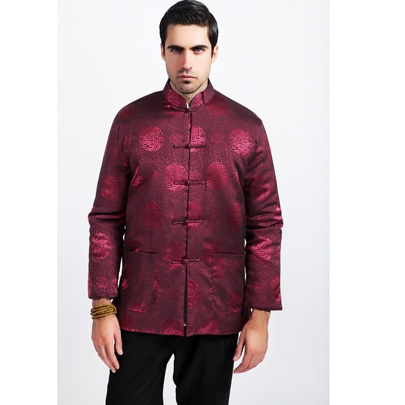 Burgundy Winter Men Cotton Padded Jacket Chinese Silk Coat Tang Suit Thicken Overcoat Outwear Size M L XL XXL XXXL