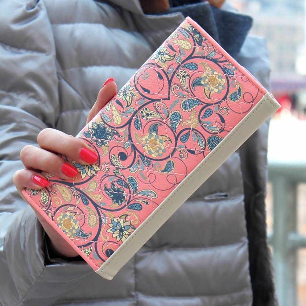 חדש אופנה מעטפת נשים ארנק להיט צבע 3 מקפלים פרחי הדפסת עור מפוצל ארנק ארוך גבירותיי מצמד מטבע ארנק הטוב ביותר מכירה-W
