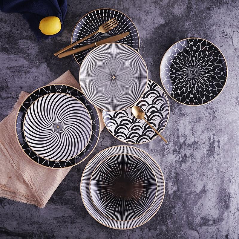 6 pièces 8/10 pouces géométrie dîner assiette ensemble pour vaisselle et vaisselle en céramique dessert gâteau plat assiettes ensemble