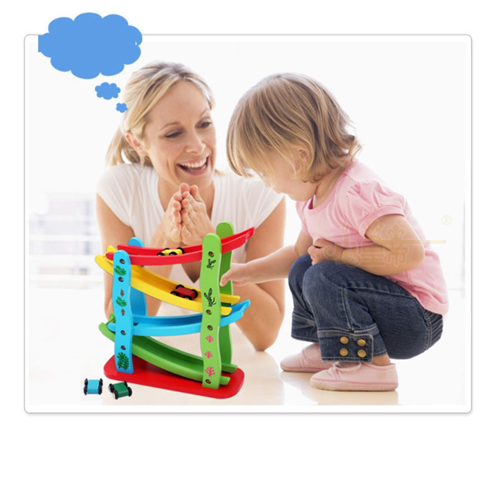 MWZ Educational Model to Slide toy Baby Kids Wooden Ladder Gliding Car Wooden Slot Track Car Toys for Children Boy Gifts