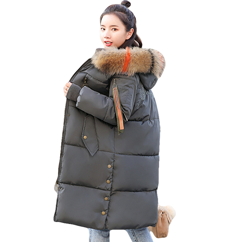 Big Fur Collar Warm Thicken 2018 New Arrival Winter Jacket Women Long Down Cotton   Parkas   Female Hooded Coats Plus Size 5XL D434
