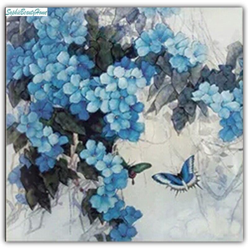 Софи красоты дома Алмазная вышивка ручная роспись голубая бабочка цветок вышивка крестиком 5d поделки алмазов картина мозаики Cry
