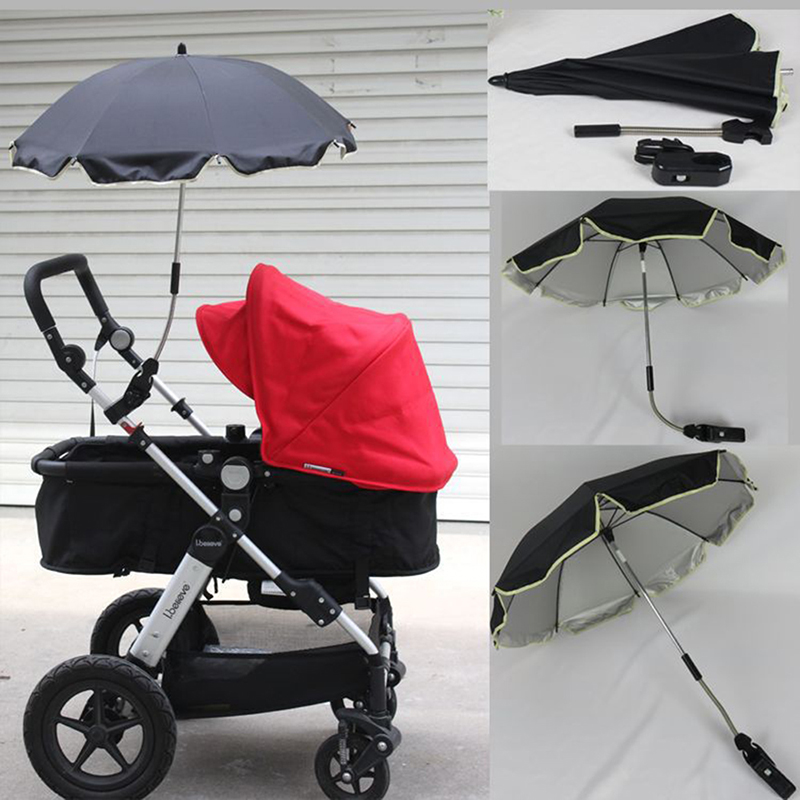Umbrella Strollers Nylon Sun Canopy UV 360 Degrees Adjustable Direction Pram Umbrella Stretch Stand Holder Baby