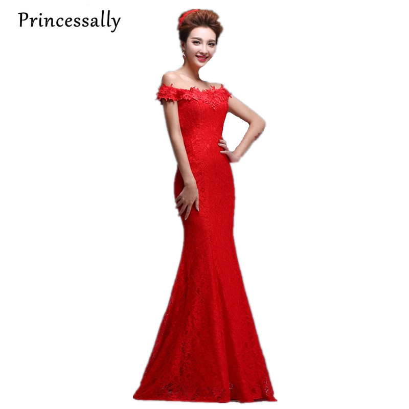 Buy red lace bridesmaid dress mermaid for Where to buy red wedding dress