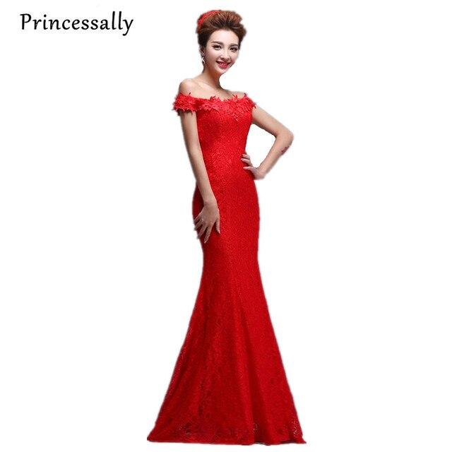Red Lace Bridesmaid Dress Mermaid Boat Neck Off Shoulder Slim The Bride  Elegant Prom Party Gown Vestidos Festas Longo Casamento ef903df5db4b