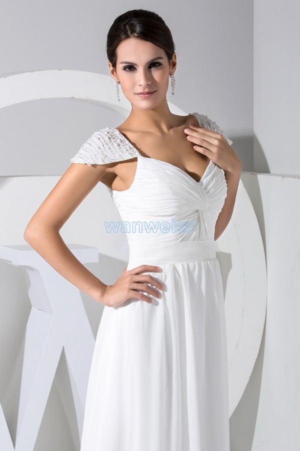 free shipping 2014 hot seller new design beading custom color size cap sleeve white evening gown chiffon evening dresses women in Evening Dresses from Weddings Events