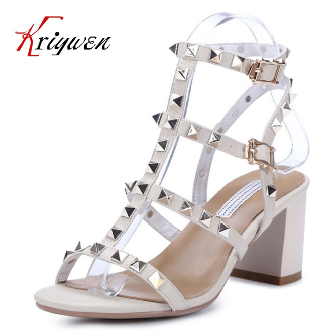 ФОТО 2016 Summer thick high heels lady genuine cowhide leather open toe rivets rome casual Shoes women leisure Punk retro sandals