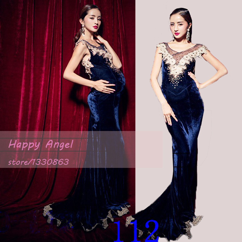 ФОТО New Pregnant Women Photography Props Fancy Long Trailing Dress Photography Deep Blue Noble Costume Photo Shoot Free shipping