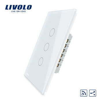 Livolo US/AU standard Wall Light Touch Screen Remote Switch, 3Gang 2Way, AC 110~250V, VL-C503SR-11/12, Without Remote - Category 🛒 Lights & Lighting