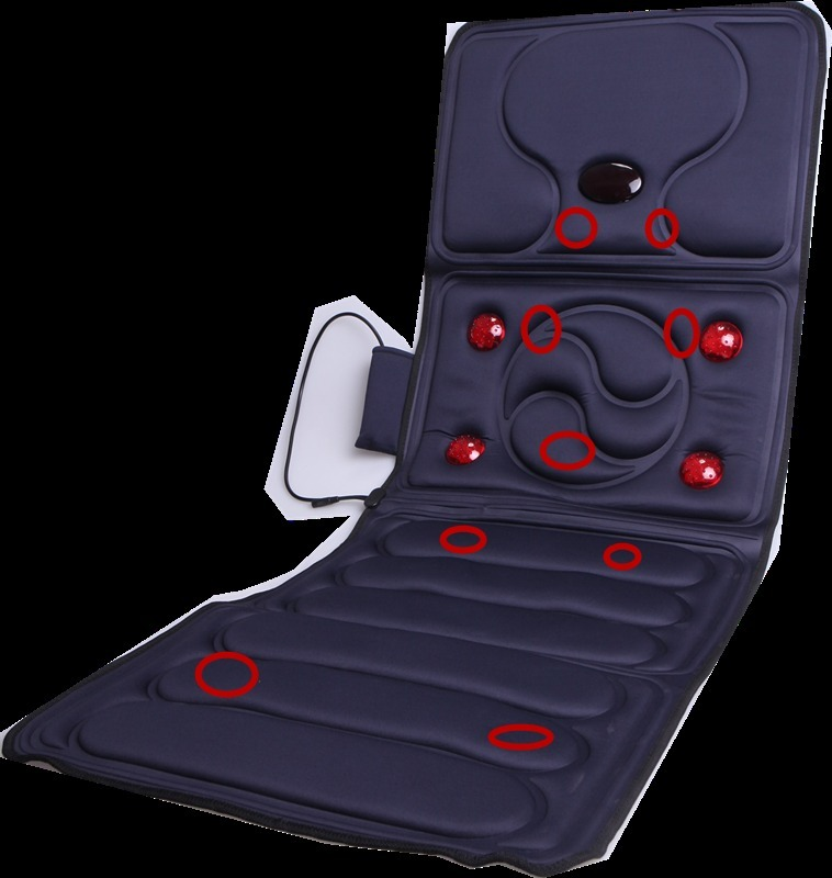 Heating Therapy Vehicle Seat Cushion Vibrating Massager Mat Full Body Cervical Neck Back Acupressure Massage Car Electronic