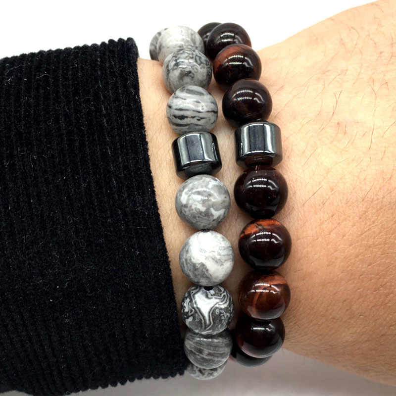 New Fashion Charm Bracelet Simple 6 Style Bead Stone CylinderBracelet  For Men Women Jewelry Gift pulsera hombres