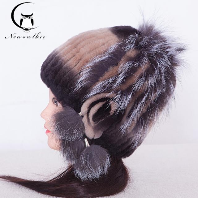 Venda quente do Chapéu Para Mulheres Real Rex Rabbit Fur Inverno Quente malha Chapéus de Pele De raposa Nova Marca Tampões Dos Esportes Grossas Para Mulheres Ano Novo