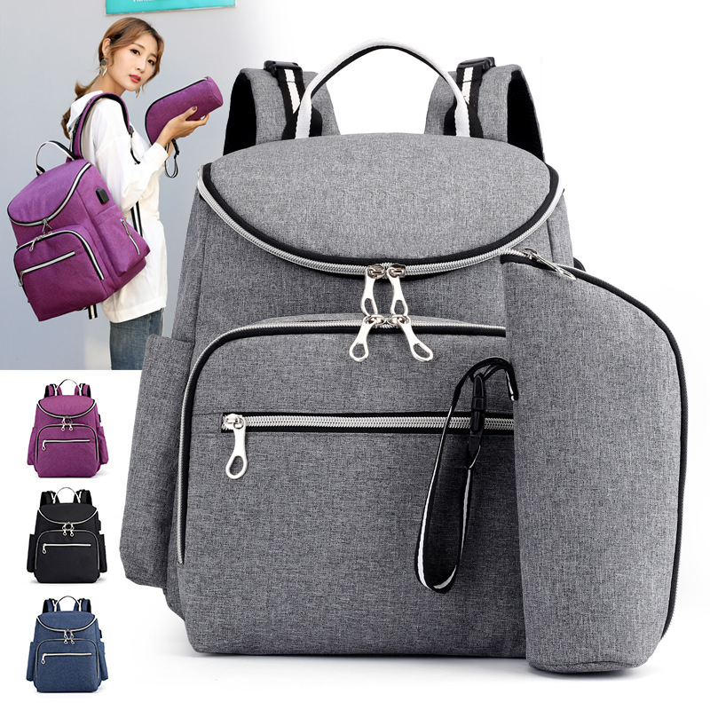 Diaper Bag USB Baby Nappy Bag Mummy Backpack Large Capacity Waterproof Casual Laptop Bag Rechargeable Holder Travel Maternity