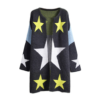 Women Cardigans Stars Pattern Print Long Sweaters Loose Warm Knitted Cardigans Long Sleeve Grey One Size