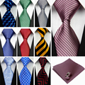 "(4""/10cm) Wide Ties for Men Solid Striped Plaid Silk Necktie Handkerchief Cufflink Neck Tie Sets Red Black Blue Male Gravatas c"