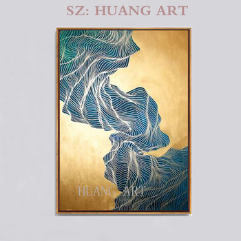 Selling hand-painted original mural oil painting large modern abstract gold line with gold decoration hotel club cafe