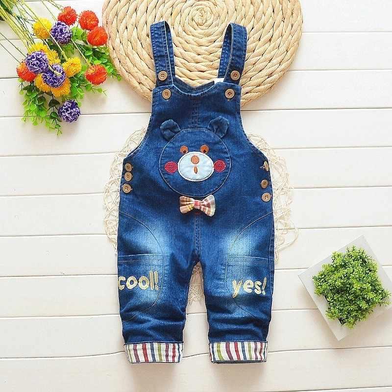 cf3498d4866 Baby Boy Girls Denim Overalls 2018 Autumn Children Jeans Jumpsuit Kids  Clothes Toddler Pants Rompers Salopette