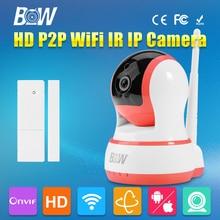BW HD 720 P P2P Cámara IP Inalámbrica WiFi CMOS Mini Cámara de Seguridad de Vigilancia de vídeo H.264 P/T Automática + Sensor de La Puerta alarma