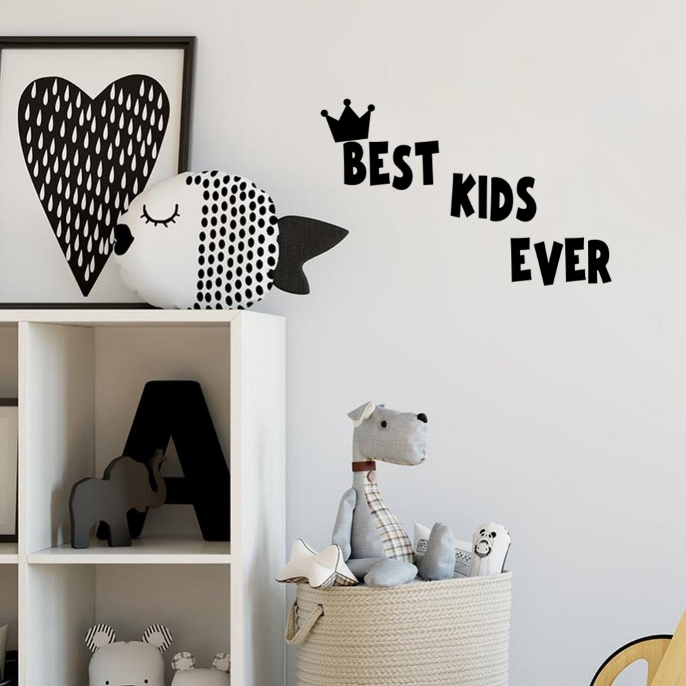 Best Kids Ever Quote DIY Wall Stickers Crown Vinyl Children Decals for Baby Room Decor image