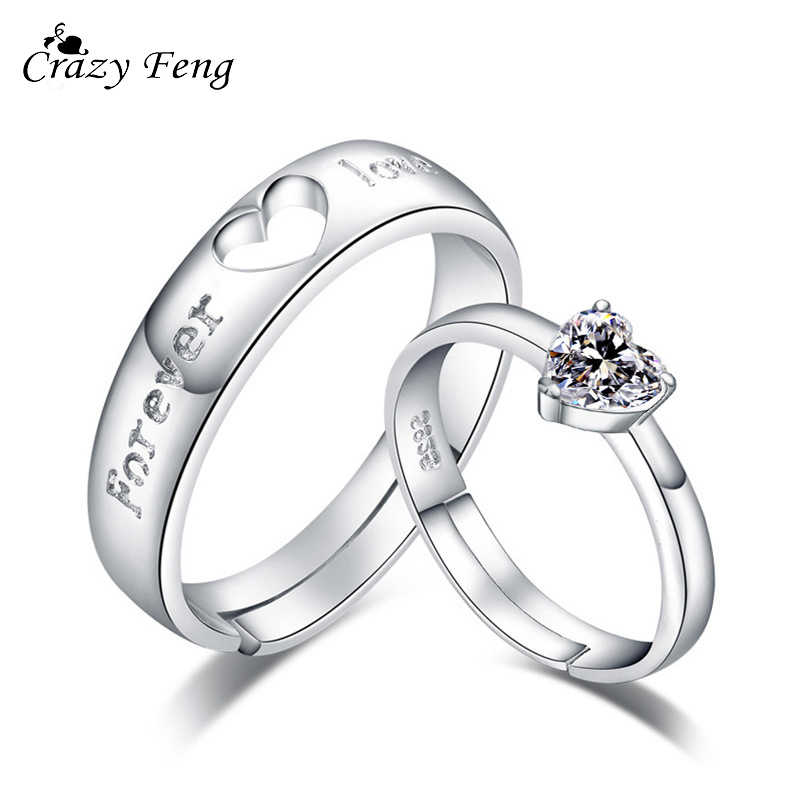 Crazy Feng 1 Pair Forever Love Wedding Engagement Rings For