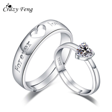 Crazy Feng 1 Pair Forever Love Wedding Engagement Rings For Valentine's Day Gift Women Men Heart Shape CZ Couple Rings Jewelry