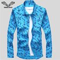Nueva primavera otoño hombres camisa de manga larga delgado juventud impresa camisas delgadas masculino estilo de negocios sociales brand clothing 5xl n1304