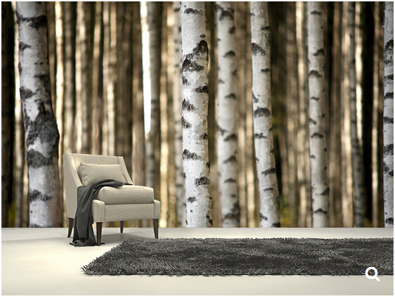 Custom natural landscape wallpaper,Birch Trees,3D photo backdrop for the living room bedroom kitchen waterproof wallpaper the trees