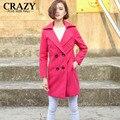 Новый 2017 Подходит 110 кг Женщины Зимняя Шерсть Пальто Красная Роза Плюс Размер 5XL XXXL Clothing Классический Двубортный Шерстяной пальто