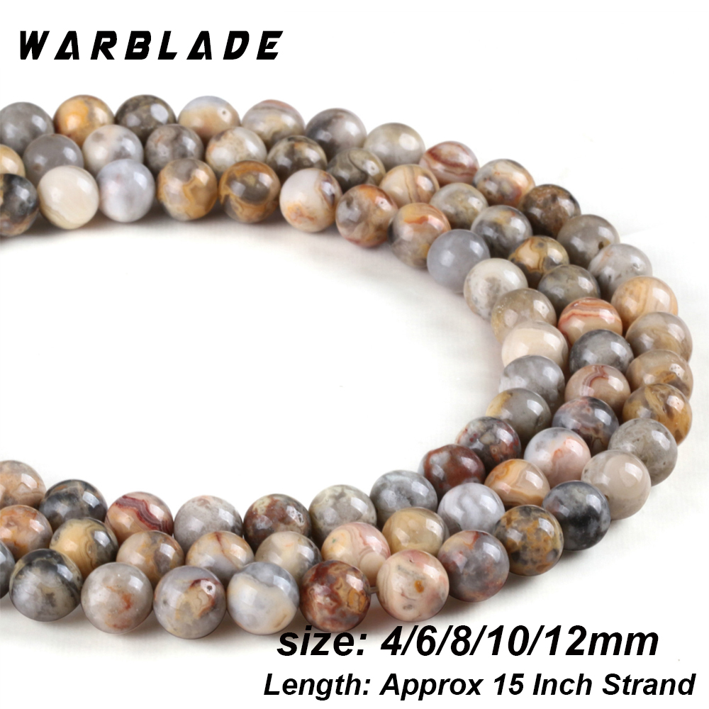 TEN BEADS 10 8mm Crazy Lace Agate Round Beads