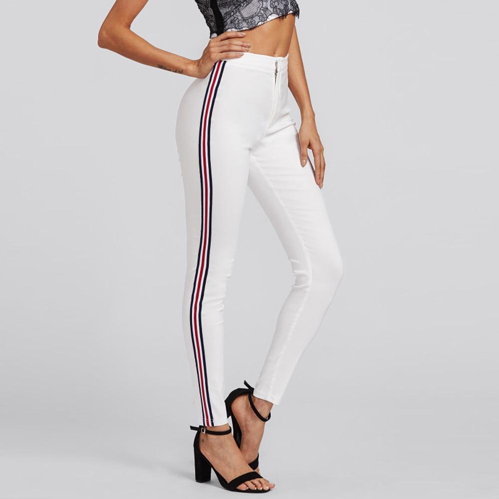 Women Pants Vertical Stripes Narrow Trousers Women Pocket Ol Work Style 2018 High Waist Long Hot Sale Pencil Pants F#J08