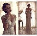 Vestido de Boda de la vendimia Anna Campbell Encaje Sheer Vestidos de Novia de Encaje Sin Espalda Boda Iglesia Vestido de Novia se Viste
